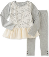 Calvin Klein Baby Girls' 2-Pc. Lace Peplum Tunic & Leggings Set