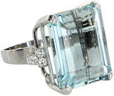 One Kings Lane Vintage 30ct Aquamarine & Diamond Cocktail Ring