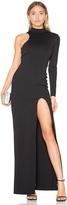 Donna Mizani One Sleeve Mock Neck Maxi Dress