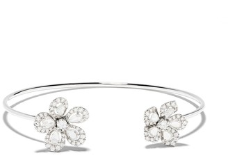 David Morris 18kt white gold diamond Miss Daisy Double Flower bracelet
