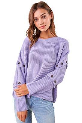Sugar Lips Sugarlips Women's Button Sleeve Knit Sweater