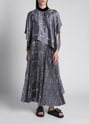 Sacai Bandana-Print Pleated Maxi Dress