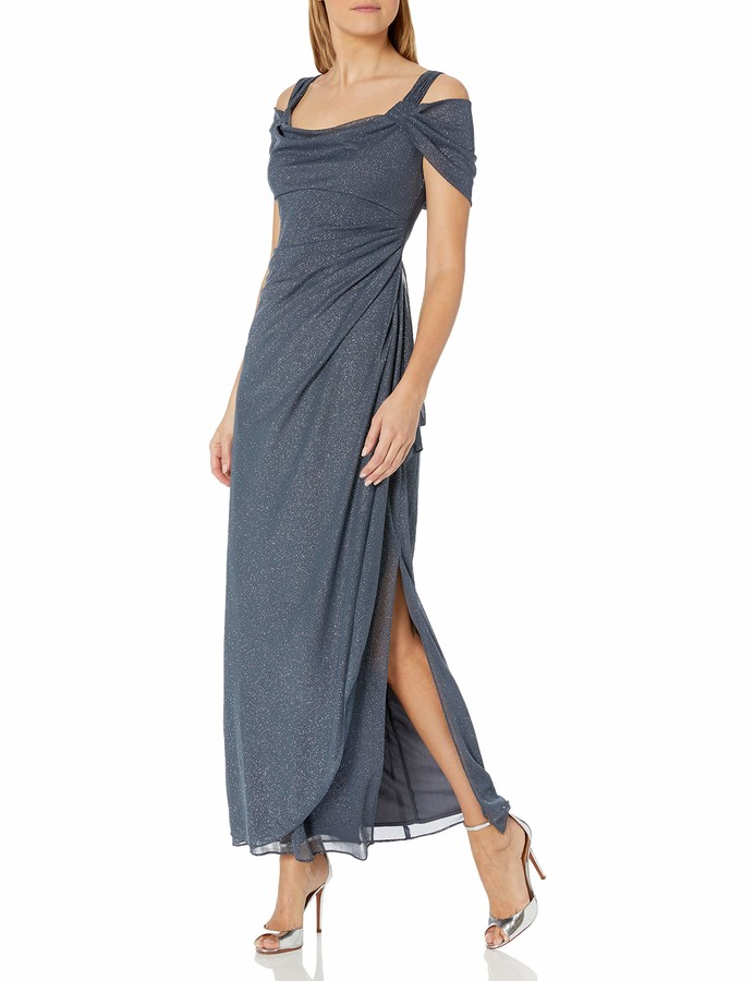 Alex Evenings Womens Dress with Beaded Shoulder Detail and Ruched Waist Skirt