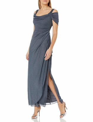 Alex Evenings Women's Long Cold Shoulder Glitter Dress with Side Ruched Skirt