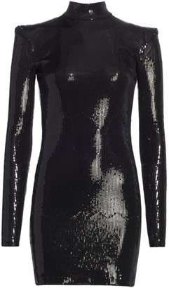 David Koma Sequin Turtleneck Open Back Cocktail Dress