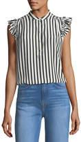 Frame Sleeveless Striped Silk Blouse with Ruffled Trim
