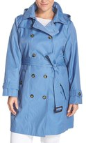 London Fog Plus Size Women's Double Breasted Trench Coat With Detachable Hood