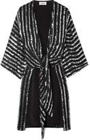 Temperley London Neri Sequin-embellished Georgette Wrap Top - Black