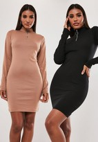 Missguided Tall Black And Camel 2 Pack Zip High Neck Mini Dress