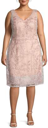 Adrianna Papell Plus Floral Sleeveless A-Line Dress