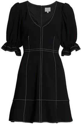 Cinq à Sept Riley Puff-Sleeve Topstitch Mini Dress