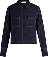 Marni Contrast-stitch box-cut jacket