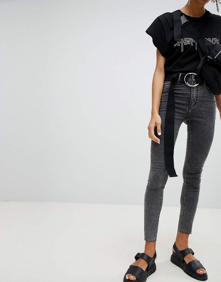 Cheap Monday High Waisted Washed Black Super Skinny Jean