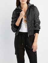 Charlotte Russe Faux Leather & Fleece Moto Jacket