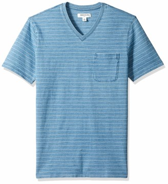 Goodthreads Amazon Brand Men's Short-Sleeve Indigo V-Neck Pocket T-Shirt Light Narrow Stripe Large