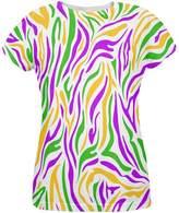 Old Glory Mardi Gras Zebra Stripes Costume All Over Womens T Shirt Multi MD