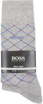 HUGO BOSS Diamond & plain cotton socks pack of two