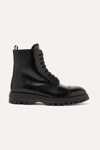 Prada Leather Ankle Boots - Black