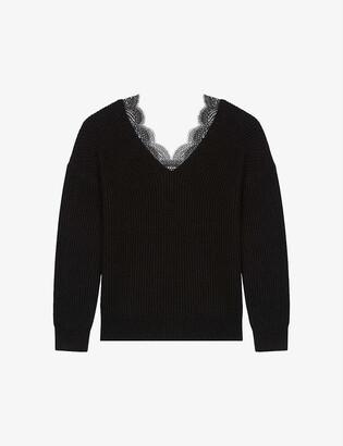 Maje Mathilde lace-trim wool-blend jumper
