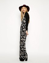 Reclaimed Vintage ASOS Jumpsuit With Cross Back In Gray Floral Print