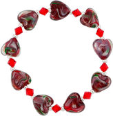 SPARKLE ALLURE Dazzling Designs Red Glass Heart Bead Bracelet