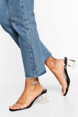 boohoo Wide Fit Low Clear Heel 2 Part