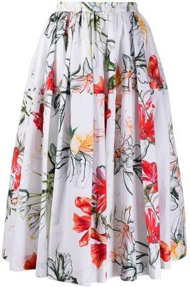 Alexander McQueen Floral Print Midi Skirt