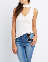 Charlotte Russe Ribbed Choker Neck Tank Top