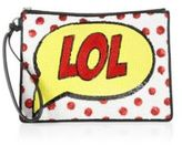 Alice + Olivia LOL Medium Sequin-Embroidered Zip Pouch