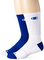 Champion Men's 2 Pack Basketball Crew Socks, White/Blue, 6-12
