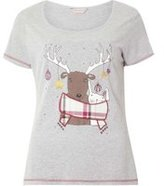 Dorothy Perkins Womens Grey Reindeer Print Pyjama Top- Grey