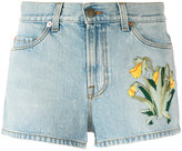 Gucci embroidered denim shorts - women - Cotton - 25