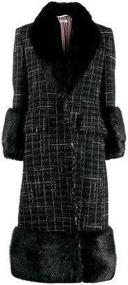 Thom Browne Faux-Fur Trim Tweed Coat
