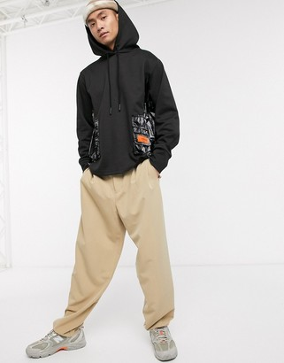 Sixth June hoodie with high shine cargo pockets in black