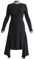 Turtleneck Ribbed Dress With Handkerchief Hem & Contrasting Collar In Black & Lilac