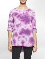 Calvin Klein Performance Tie Dye Roll-Up Sleeve Fleece Sweatshirt