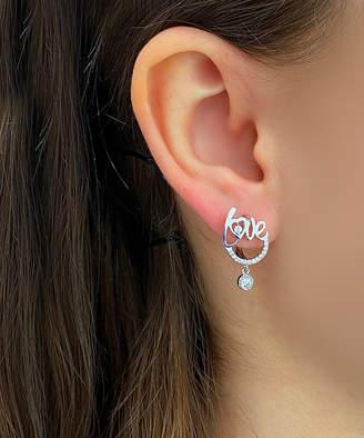 Swarovski Sevil 925 Women's Earrings - Sterling Silver 'Love' Drop Earrings With Crystals
