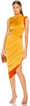 Monse Sleeveless Double Layer Twisted Dress in Mustard | FWRD