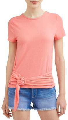 Eye Candy Juniors' Rib Knit Belted Front Short Sleeve T-Shirt