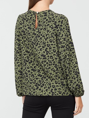 Very Printed Round Neck Long Sleeve Shell Top - Animal