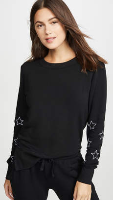 Chrldr Stitched Stars High Slit Sweatshirt