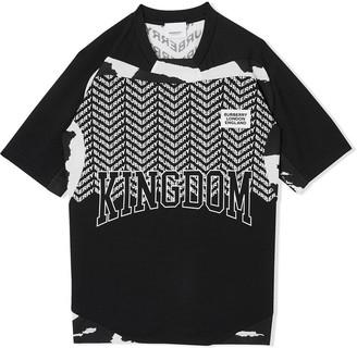 Burberry TEEN Kingdom print mesh T-shirt