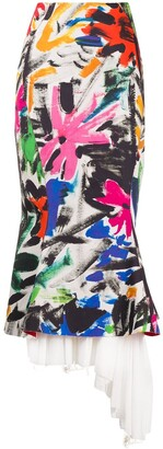 Marni Brush Stroke-Print Pencil Skirt