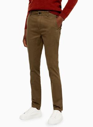 Topman Khaki Stretch Skinny Chinos