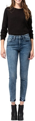 Flying Monkey Mid Rise Acid Wash Crop Skinny Jeans