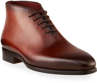 Magnanni Men's Burnished Leather Chukka Lace-Up Shoes