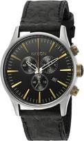 Nixon Men's A4052222-00 Sentry Chrono Leather Analog Display Japanese Quartz Watch