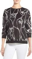 Kensie Women's Sketched Bird Print Sweatshirt