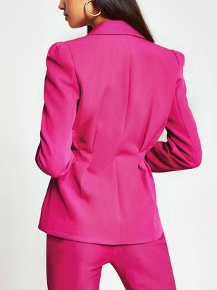 River Island Tuck Waist Double Breasted Fashion Blazer - Pink
