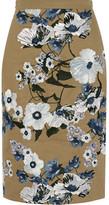 Erdem Aysha Embroidered Cotton-canvas Skirt - Tan